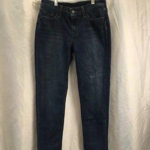 Levis Womens Skinny Ankle Jeans Bleach Splatter K8